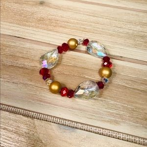 Red/gold Crystal Beaded Bracelet